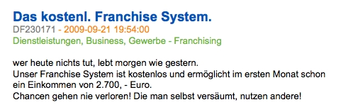 """Beispiel: Werbeanzeige für ein """"kostenloses"""" Franchise-System - seriös oder nicht?"""