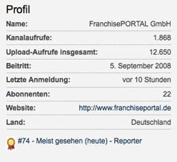 FranchisePORTAL-Kanal unter den meistgesehenen YouTube-Kanälen